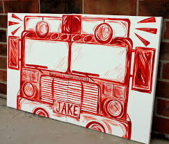 100 Big Red Fire Truck BIG Red Fire Truck Art 20x32 Personalized Art On Canvas Etsy