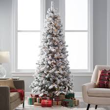 Classic Flocked Slim Pre Lit Christmas Tree Green 75 Ft