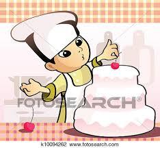 Clipart Confectioner baking a cake Fotosearch Search Clip Art Illustration Murals