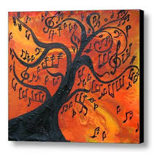 Abstract Print Music Painting Art Musical Notes Tree
