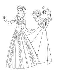 Frozen Coloring Pages For Kids Two Beautiful Princesses Of And Page Printing