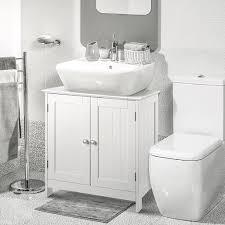 jeobest waschbeckenunterschrank mit 2 türen unterschrank badezimmerschrank viel stauraum einlegeboden weiß 60x30x60cm