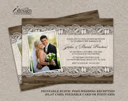 Diy Rustic Photo Post Wedding Reception Invitations With Burlap And Lace On Brown Barn Wood