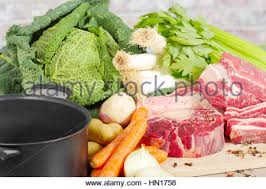 beef and vegetables for the preparation of pot au feu stock