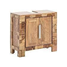 woodkings waschbeckenunterschrank baddi holz akazie rustikal waschtischunterschrank massiv badmöbel badezimmer badezimmerschrank badschrank bad