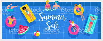 Top View Beach Background Pool Party Summer Water Activities Scene With A Lot