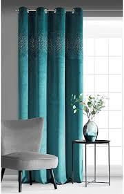 eurofirany vorhang velvet samt türkis grün blau mit kristallen und metallösen 140x250 cm 1 stk glänzend weich blickdicht klassisch wohnzimmer