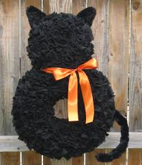 Halloween Wreath Fall Wreath Orange and Black Wreath Cat