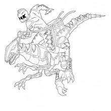 Jumping Ninja Power Rangers And Dino Robot Coloring Page