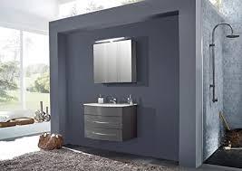 sam badmöbel dali 2tlg badezimmer set in grau hochglanz waschplatz mit keramikbecken in 80 cm breite 1 spiegelschrank softclose funktion