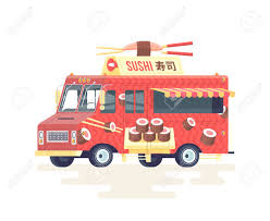 100 Sushi Truck Vector Colorful Flat Japanese Food Isolated