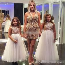 Sparkly Rose Gold Sequined Flower Girl Dresses Tulle Bow 2017 Custom Made Cheap Children Formal Birthday Party Gowns