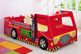Kids Bedroom With Truck Bed, Fire Truck Toddler Bedding Set | Trucks ...