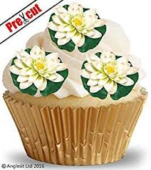 FLAT WATER LILY FLOWERS S1 EDIBLE WAFER RICE PAPER CUP CAKE TOPPERS BIRTHDAY PARTY WEDDING