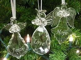 Faith Hope Love Angel Ornaments Set Of 3 Glass Hanging Angels