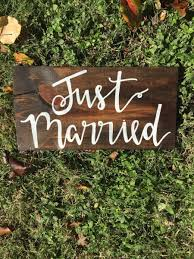 Just Married Sign Wedding Decorations Rustic Boho Signage Decor Stained
