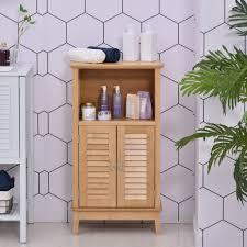 homcom badzimmerschrank mit offener regal badregal badezimmer standregal bambus natur