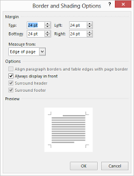 Word Displays The Border And Shading Options Dialog Box See Figure 2