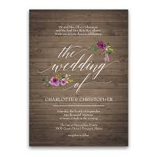 Rustic Burgundy Purple Floral Script Wedding Invitations