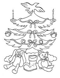 Easy Christmas Tree And Gifts Coloring Page