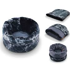 Burrowing Dog Bed by Pet Play Snuggle Bed Faux Fur Cotton Canvas At Dogtuff Com