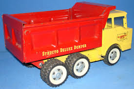 STRUCTO TOYS PRESSED STEEL METAL YELLOW CAB RED DELUXE DUMPER ... 1950s Structo Hydraulic Toy Dump Truck Vintage Nice Yellow Toy Truckgreen Trailer Yellow Steam Shovel Farms Cattle Hauler Steel Trailer Light 992 Vintage Grnuploweredga Structo Toys Freight Hauler Truck Fire Engine Ardiafm Hap Moore Antiques Auctions Lot Of 2 Machinery Steam Shovel Pressed Steel Hydraulic Dumper 401 Red Cab Yellow Toys R Us Pressed