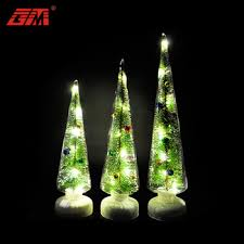 Pine Tree Inside Glass Christmas Stand Decoration For Sale