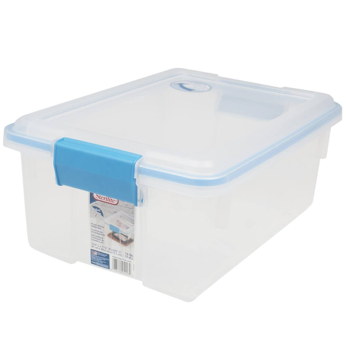 Sterilite Gasket Box Clear with Blue Latches 12qt