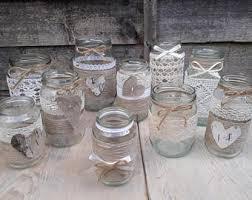 14 Rustic Vintage Wedding Lights Handmade Glass Linnen Jars Tea Light Candle Holders Decor