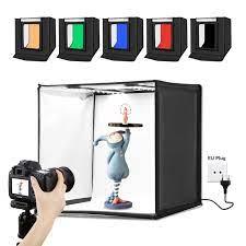 104 Studio Tent Puluz Photo Light Box Portable 60 X 60 X 60 Cm Light Led 5500k Mini 60w Photography Kit With 3 Removable Backdrop Black Orange White Uk Plug Buy