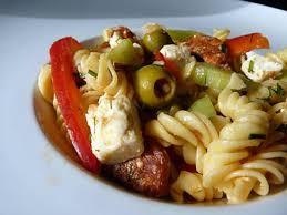 recette de salade de pâtes auxtomates séchées poivrons et chorizo