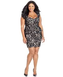 xscape plus size dress cap sleeve lace peplum back cutout plus