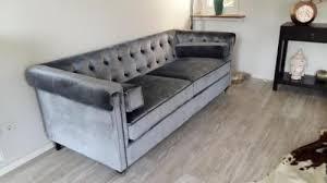sofa impressionen chesterfield stil samtbezug grau in