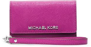 Michael kors Saffiano Leather Phone Wristlet For Iphone 5 in Pink