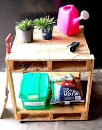 Reclaimed Pallet Garden Storage Table