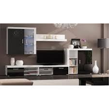 möbel set oberschrank wohnzimmermöbel tv möbel esszimmer modernes wohnzimmer set mit led beleuchtung schwarz lackiert und weiß mate maße 290 x