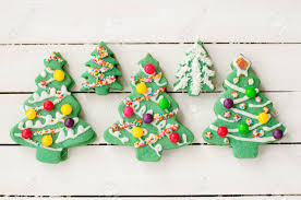 Decorated Christmas Tree Cookies Stock Photo