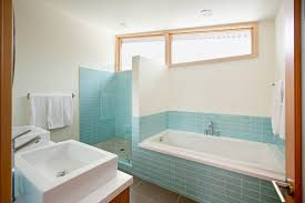 light blue subway tile for large bathroom with white