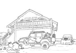 Childrens Coloring Book Page Jeep
