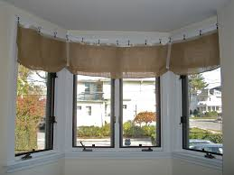 Kitchen Curtain Ideas For Large Windows by Ceiling Burlap Curtains With White Ceiling Wall And Large Windows