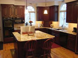 Kitchen Engaging Decorating Ideas Using Cream Quartz Countertops And L Shaped Brown Wooden Cabinets Also