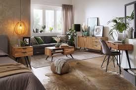wohnling sideboard 145x75x45 cm akazie massivholz anrichte modern flurschrank kommode mit 3 schubladen 2 türen schubladenkommode massiv echtholz