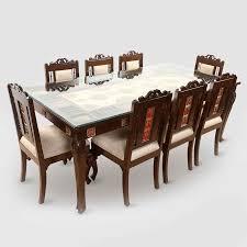 Moorni Teak Wood 8 Seater Dining Table With Warli And Dhokra Work