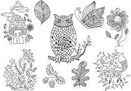 Enchanted Forest Coloring Free Vector Is A Great Template Set Of Vectors Perfect For Pages The Includes Owl Fox Mushroom House