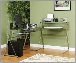 glass l shaped desk homegear glass lshaped corner computer work