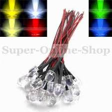100 x led 10mm pre wired led white blue green yellow rgb pre