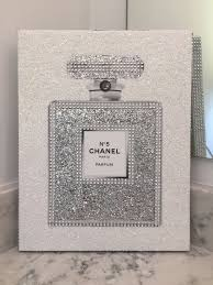 Canvas Wrapped Embellished Art Print Chanel No 5 Perfume Bottle Sparkling Glitter Diamante Rhinestone Wall Hanging 11 X 14
