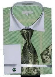 men u0027s stripe pattern two tone french cuff shirt tie hanky