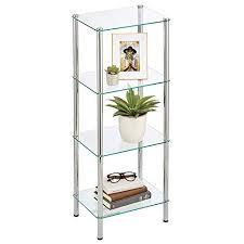 mdesign standregal mit 4 ablagen kompaktes regal im modernen design aus metall und glas glasregal für das bad büro schlaf oder wohnzimmer