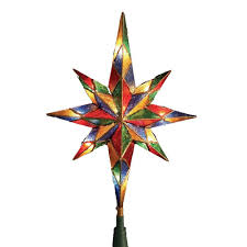 Bethlehem Lights Christmas Trees by Amazon Com Kurt Adler 10 Light Mosaic Bethlehem Star Treetop